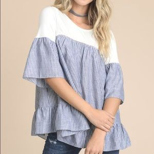 Doe & Rae Striped Bell Sleeve Blouse
